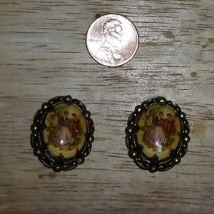 VINTAGE WEST GERMANY HAND PAINTED CLIP-ON EARRINGS